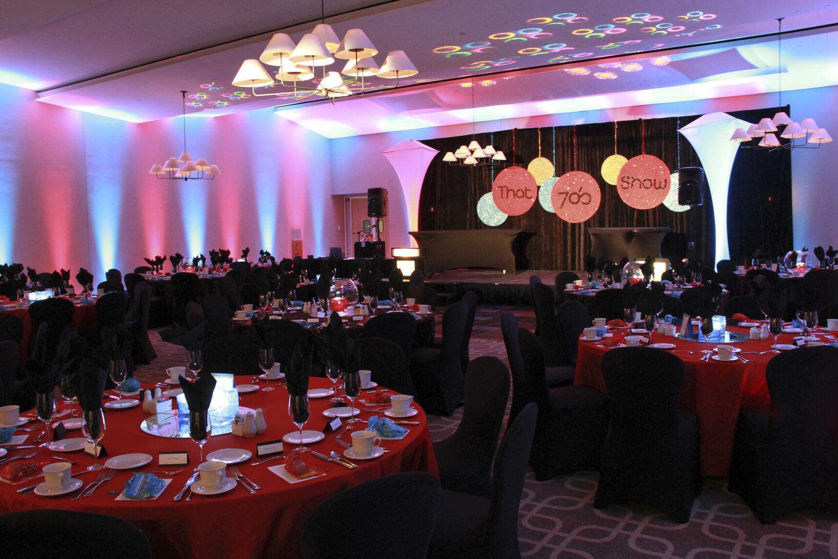 Game Show Themed Fundraising Gala in the ballroom at Hazeltine National Golf Club