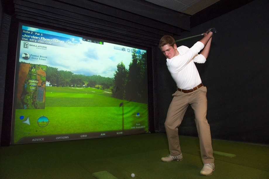 Off season practice in the Simulator at Hazeltine National Golf Club
