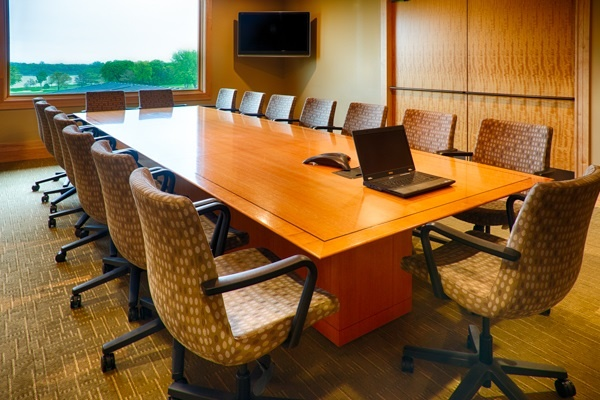 Business meeting room with a view of the golf course at Hazeltine National Golf Club