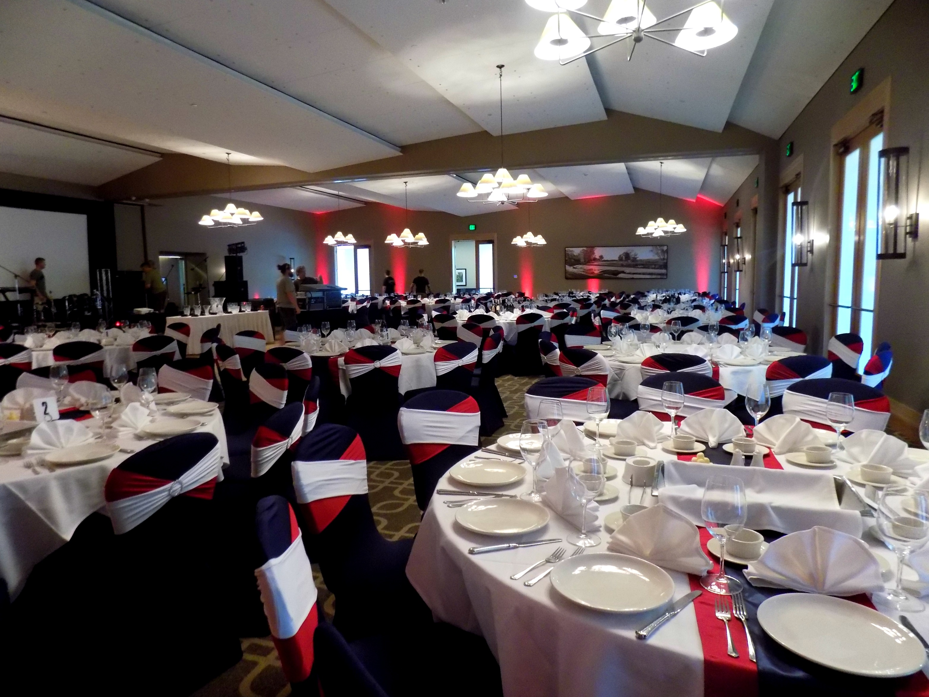 Red White and Blue decor for an all-America fundraising gala at Hazeltine National Golf Club