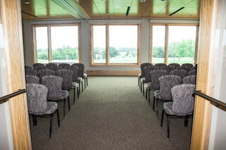Theater set up for a training meeting at Hazeltine National Golf Club