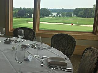 Business dinner overlooking the golf course at Hazeltine National Golf Club