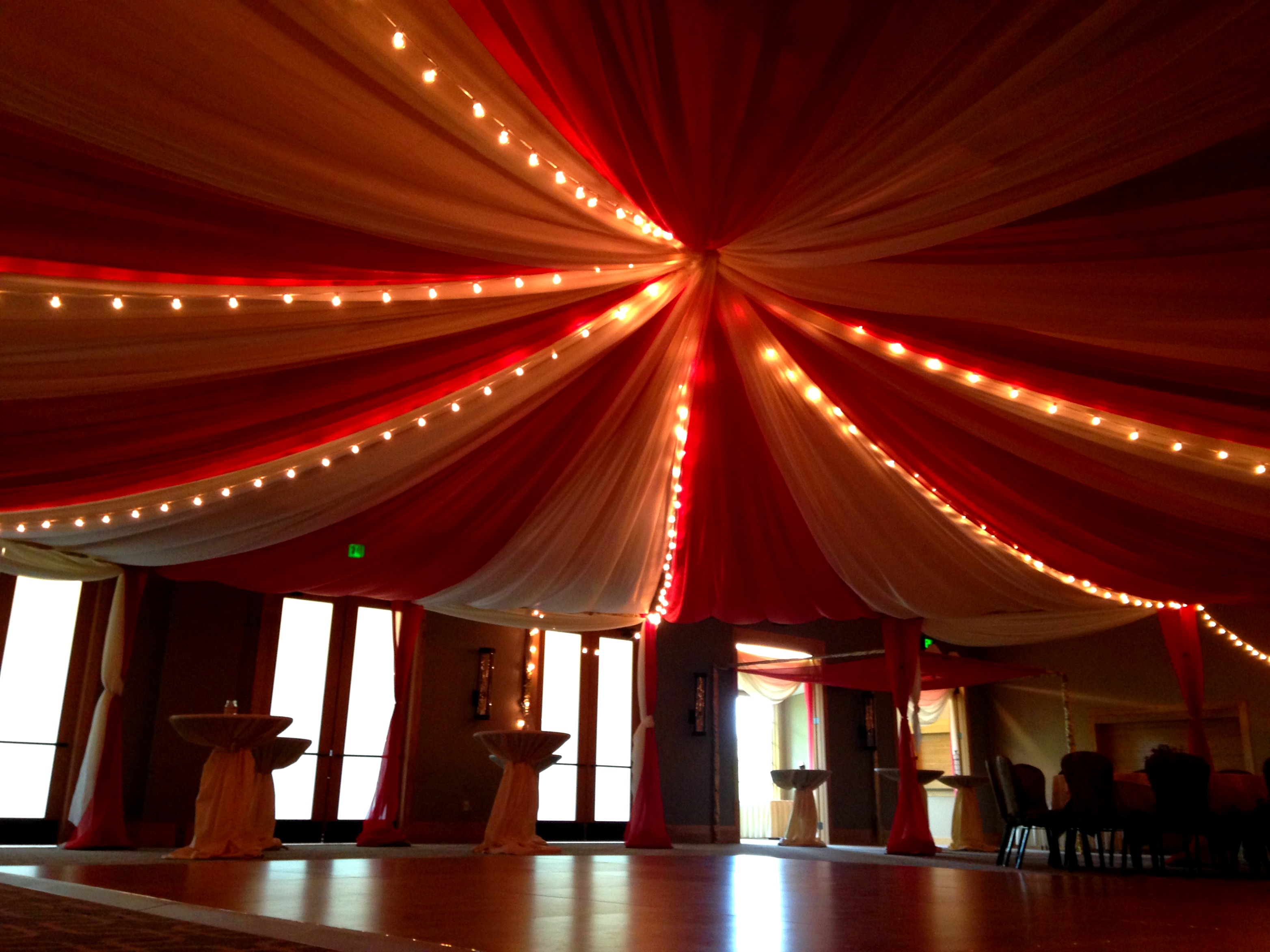 The ballroom at Hazeltine National Golf Club decorated with a circus theme for a fundraising gala