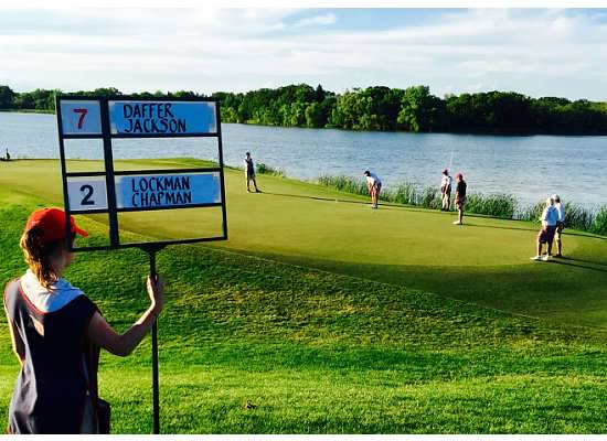 Golf Tournament Leader Board at a private golf tournament at Hazeltine National Golf Club