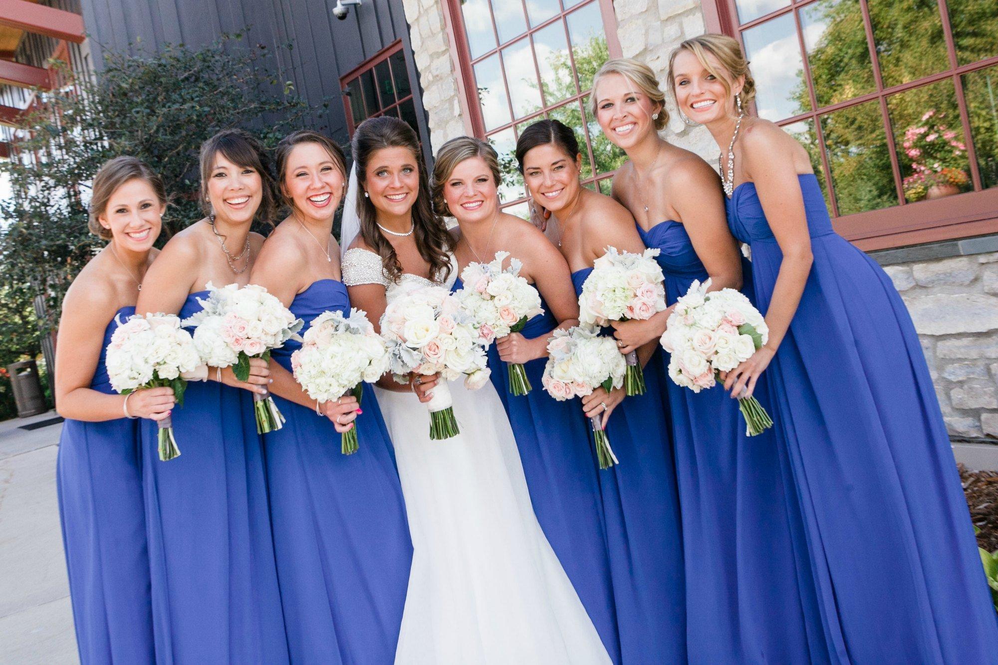Bridal party before the wedding reception at Hazeltine National Golf Club