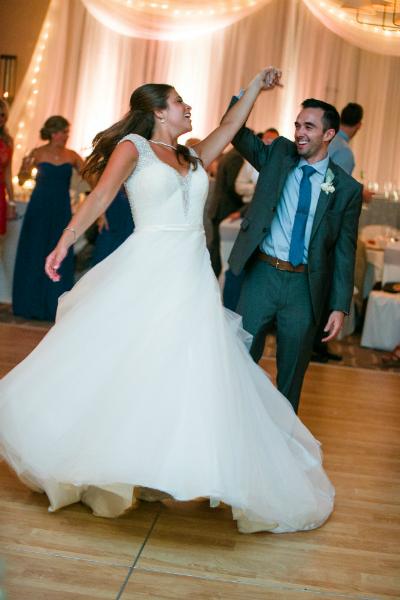 Couple dancing at their wedding reception at Hazeltine National Golf Club