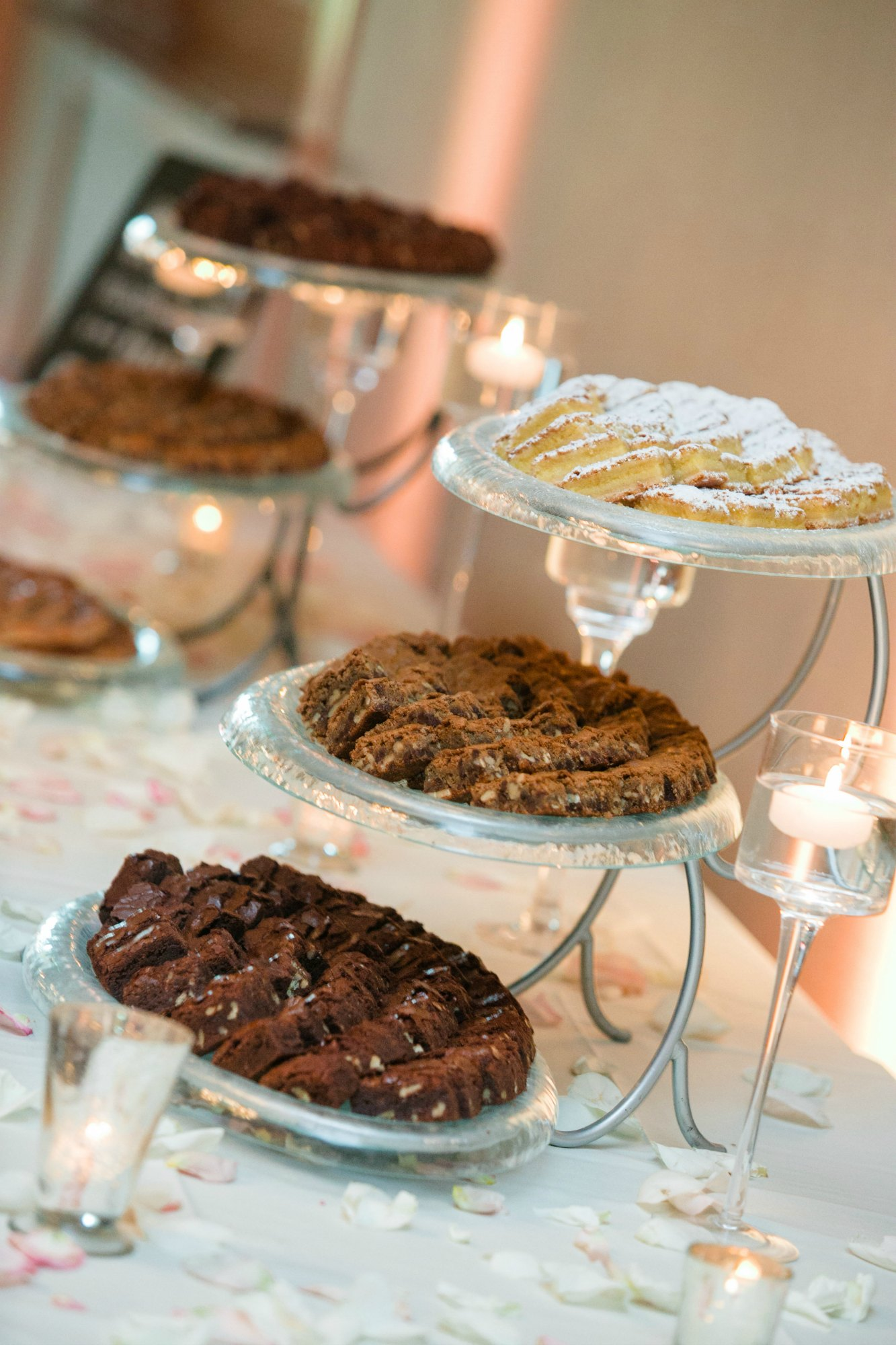 Dessert table at wedding reception at Hazeltine National Golf Club