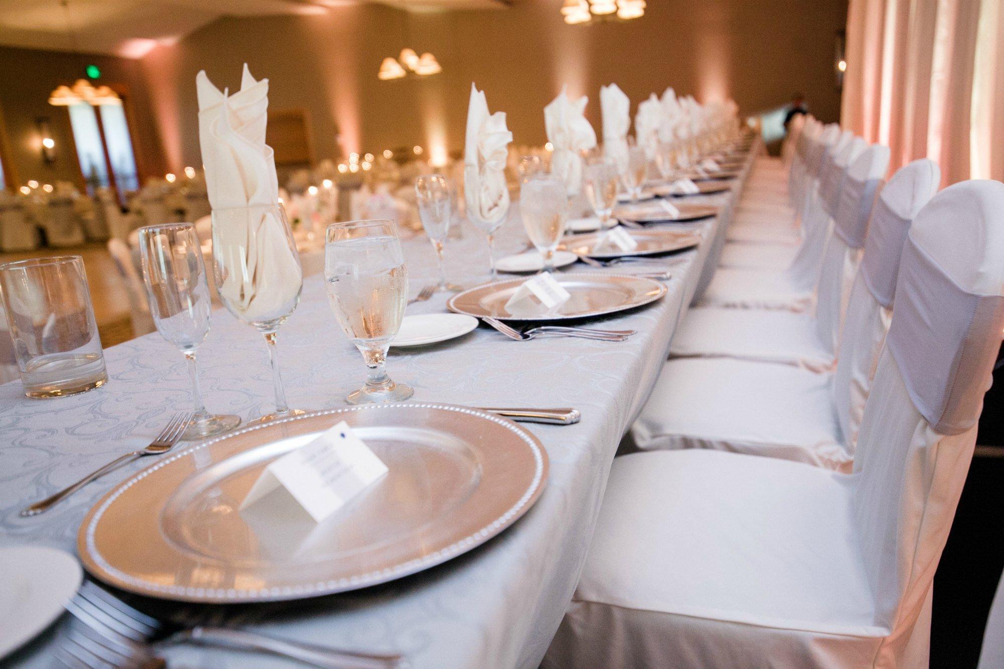 Wedding reception head table at Hazeltine National Golf Club