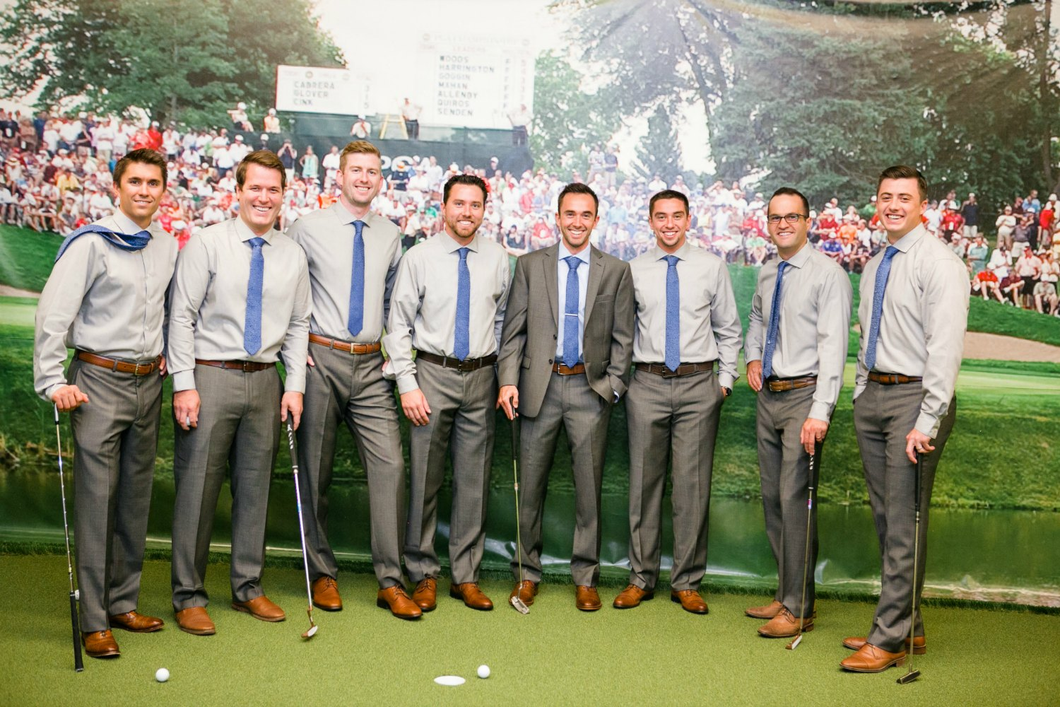 Groomsmen in Learning Center before the wedding reception at Hazeltine National Golf Club