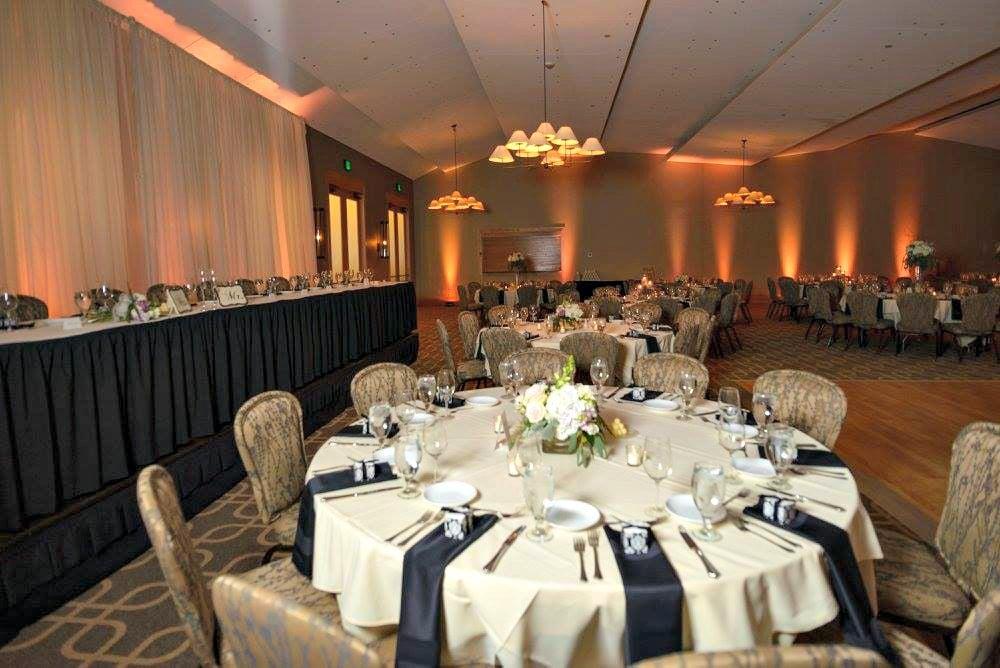 Ballroom set up for a wedding reception at Hazeltine National Golf Club