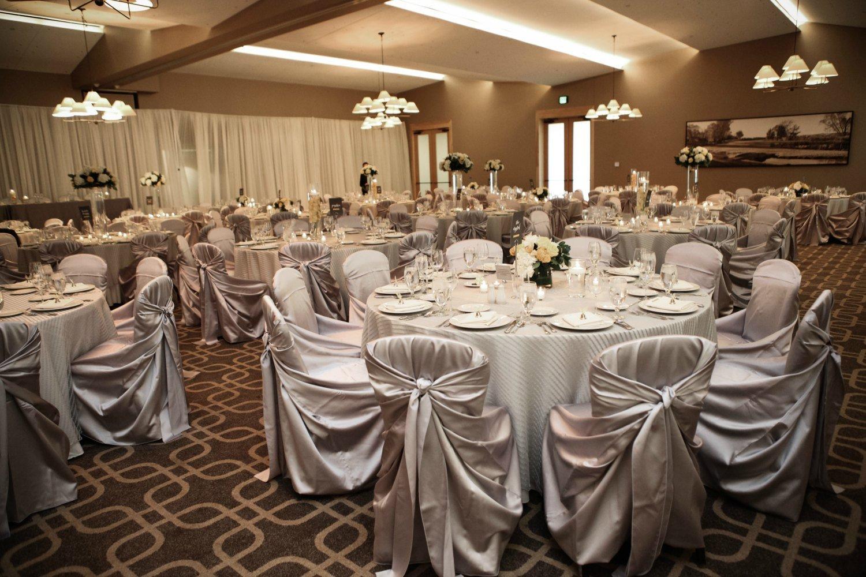 Ballroom set up for an elegant wedding reception at Hazeltine National Golf Club