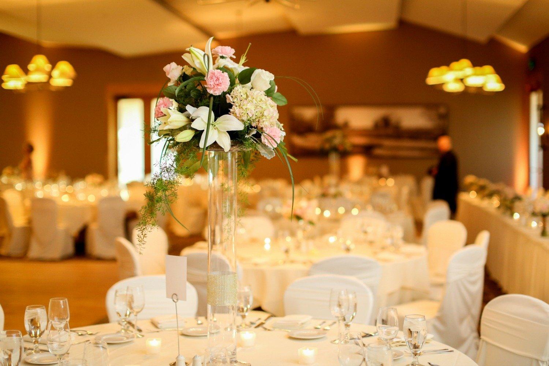 Ballroom set up for a Spring wedding reception at Hazeltine National Golf Club