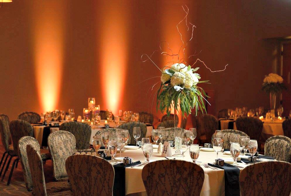 Dramatically lit wedding reception at Hazeltine National Golf Club