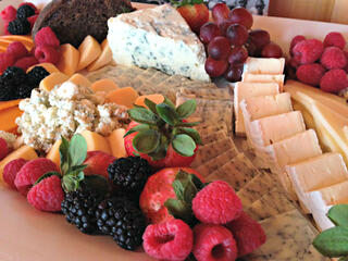Fresh fruit and cheeseboard are served during a break from a business meeting at Hazeltine National Golf Club