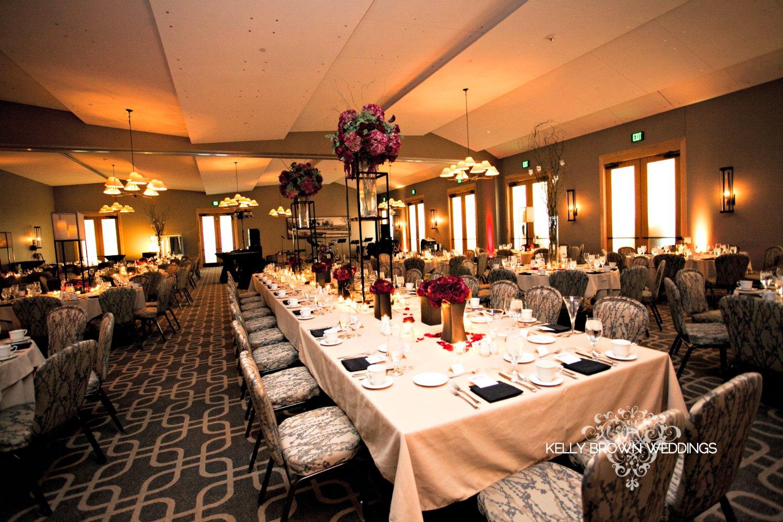 Ballroom set up for a fall wedding reception at Hazeltine National Golf Club